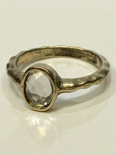 Bezel Mount Faceted Oval Clear Rhinestone Silver Tone Hammered Band Ring SZ 8