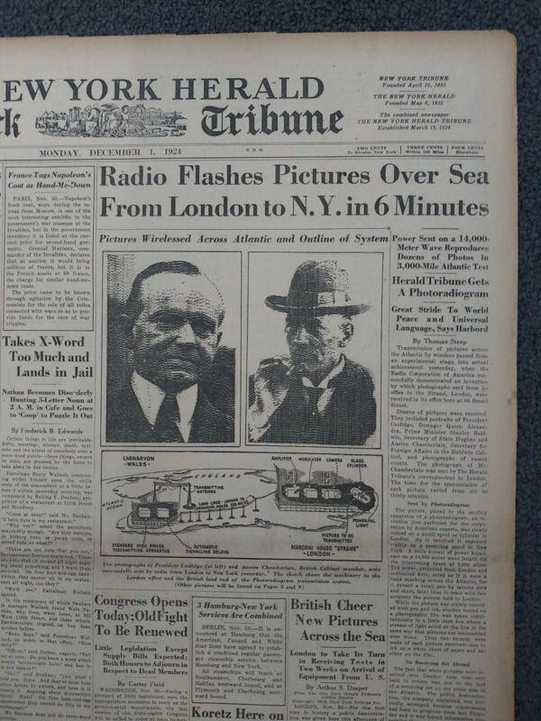 Wireless Photography - RCA - Invention - 1924 New York Herald Tribune Newspaper