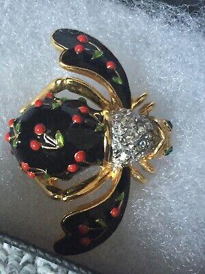 Joan Rivers Signed Black Cherry Honey Bee Pin Brooch