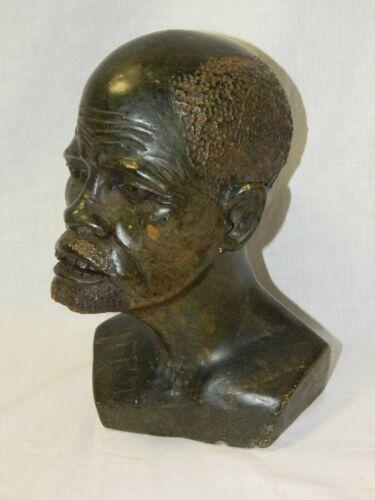Original Nicholas Tandi Carved Stone Sculpture Head Bust Signed N. Tandi