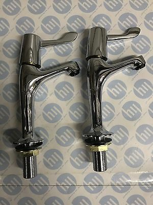 Lever High Neck Pillar Taps Chrome Plated With Ceramic Disc Valves (6115)