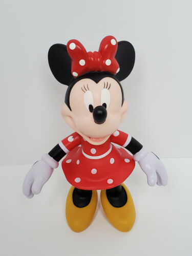 Walt Disney Vintage Minnie Mouse Hard Rubber Toy Figure in Red Dress