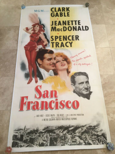 VINTAGE SAN FRANCISCO 3SH POSTER LINEN 1948 CLARK GABLE SPENCER TRACY MGM GREAT!