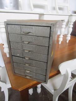 D41038 Vintage Metal Industrial Rustic Drawers Filing Tools Colle