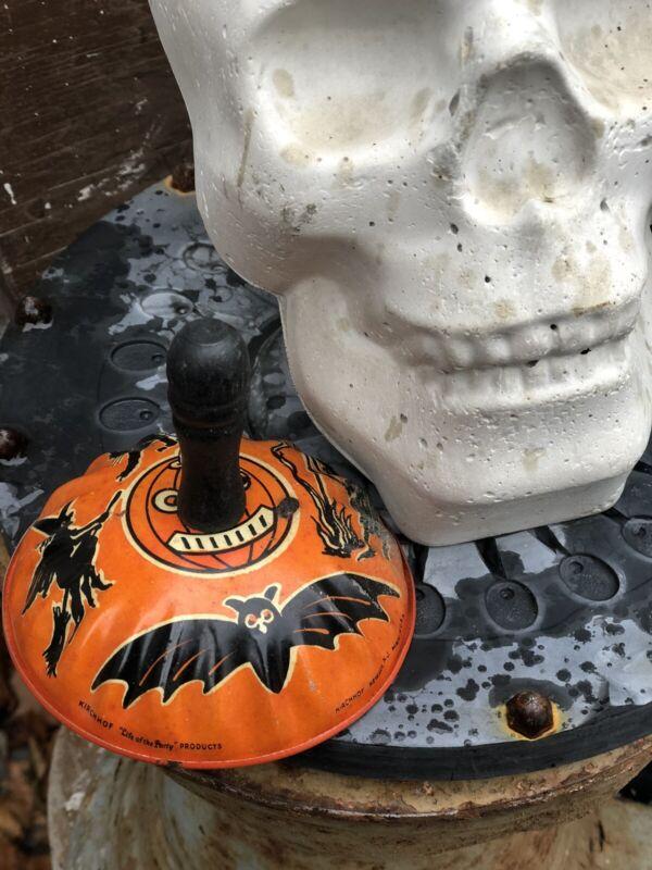 True Vintage Antique Halloween Tin Litho Kirchhof Noisemaker c.1940 Black Handle