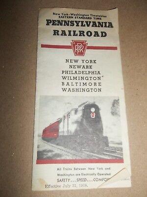 1938 PENNSYLVANIA RAILROAD TIMETABLE New York Washington Philadelphia