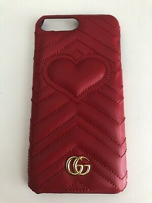 Gucci Case For Iphone 7 Plus 8 Plus Red Leather With Logo