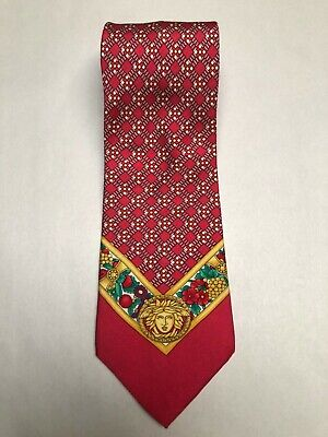 Giannni Versace 90s Vintage Silk Tie Red Diamond motif Gold Medusa fruit Print