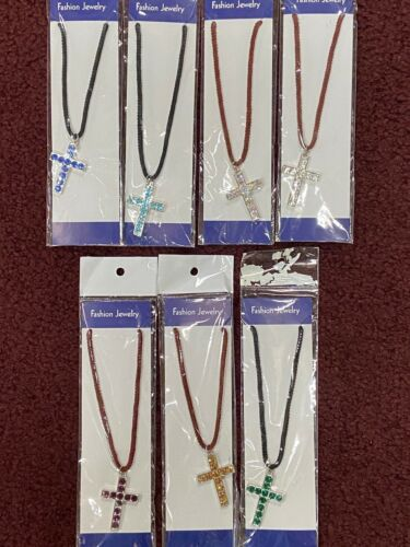 NEW 67 Pieces Rhinestone Crystal Cross Jesus Necklaces Assorted Lot Wholesale