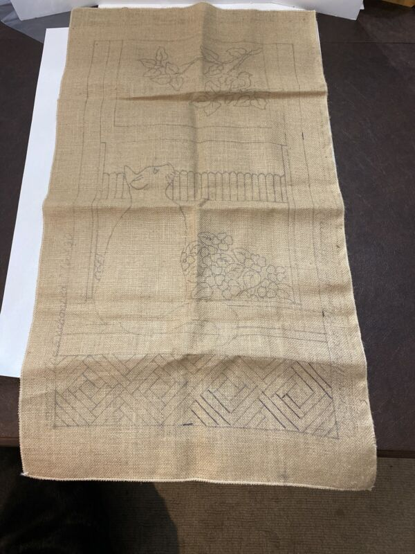 Vintage Jane McGown Flynn Rug Hooking Pattern #777 Burlap Cat and Birds 16x 30