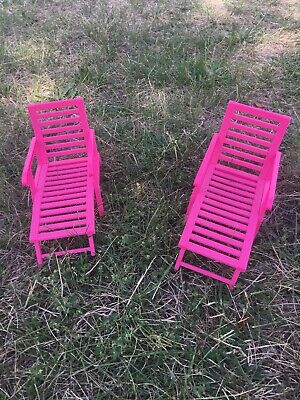 Mattel Barbie Doll SISTERS CRUISE SHIP Pink LOUNGE CHAISE CHAIR Set of 2