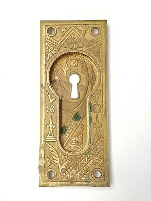 B119 Antique Pocket Door Pull Ornate Eastlake? Brass 5 5/8