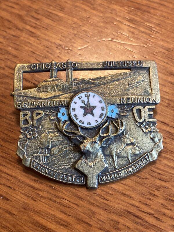 1920 BPOE Benevolent Protector Order of Elks Medallion Pin Robbins Bronze