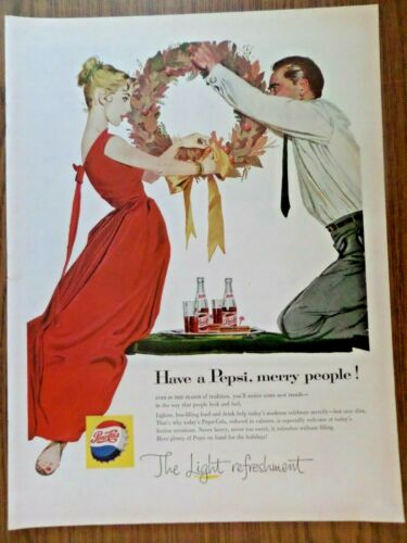 1957 Pepsi Cola Soda Ad Couple  Have a Pepsi Merry People Christmas Theme