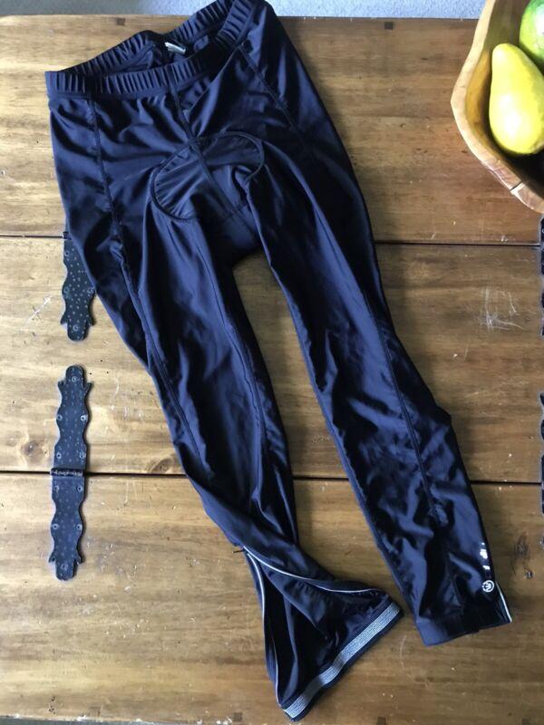 CANARI Men Bike Gel Seat Pants Size L Black Ankle Zip Slim Fit Elastic Waist