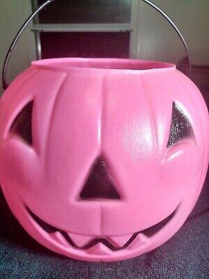 General Foam Plastics Halloween Pumpkin Candy Pail Blow Mold Pink & Black *Rare