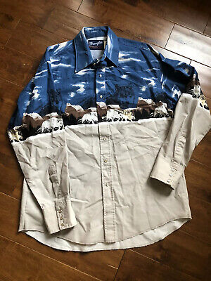 1970s Mens Shirt Styles – Vintage 70s Shirts for Guys Vintage 1970s Wrangler Western Mountain Wolf Graphic Snap Button-Up Shirt Large $69.00 AT vintagedancer.com