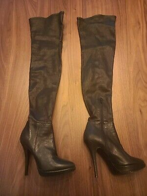 VERA WANG LAVENDER Italy Black Leather Zip Over The Knee Boots Womens Size 6.5 M