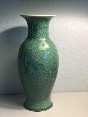 Tall porcelain vase Green crackle glaze