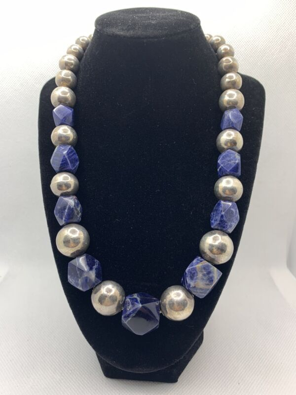VTG MEXICO TAXCO STERLING SILVER W/ LAPIS LAZULI GRADUATED BEAD NECKLACE 108.5g