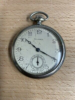 Antique Ingersoll Reliance Pocket Watch Not Working For Parts Or Repair