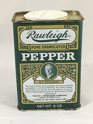Vintage Victorian Style Rawliegh Pepper Tin Font Green Edition Empty 8 Oz