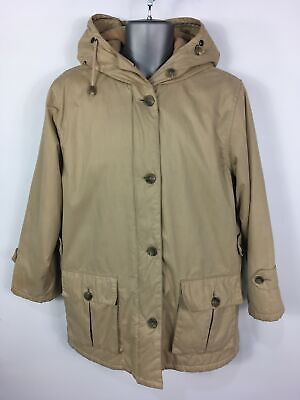 MENS BROOKS BROTHERS 1818 BEIGE HOODED PADDED DETACHABLE FLEECE LINED COAT SMALL