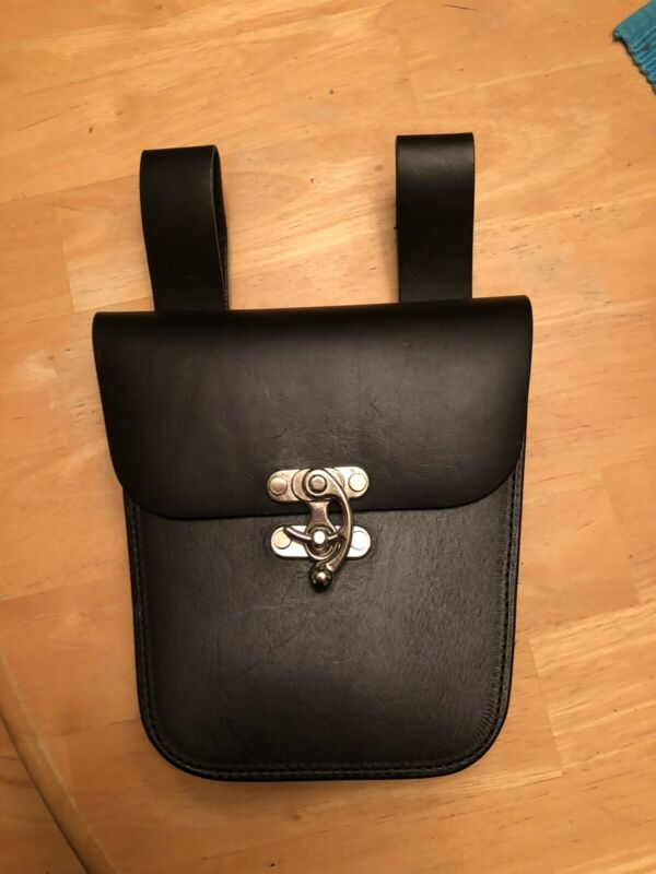 Renaissance Medieval Belt Bag Pouch - Black Leather - Pirate - Viking - Wench