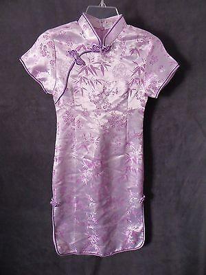 M.M Lavender Satin Knit Purple Mandarin Asian China Doll Girls Costume Dress 12