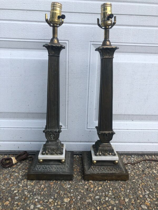 Antique Vintage Pair Brass Marble Greek Fluted Column Buffet Tall Lamps 22 In
