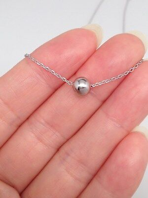 Plain 925 Sterling Silver Bead (Sterling Silver 925 Tiny Plain Single Bead Pendant Necklace 5mm )