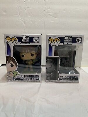 Funko 2 Pop Bundle Star Wars 363 Luke Skywalker Yoda 364 Han Solo in Carbonite