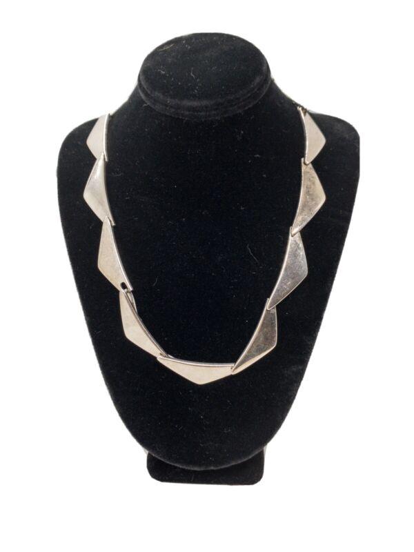 """Vintage Hans Hansen """"Peak"""" Sterling Silver Link Necklace Danish"""