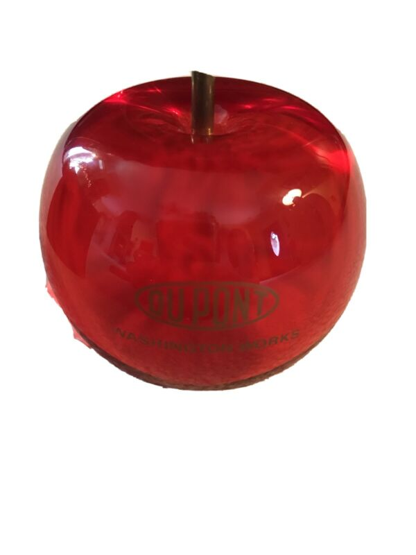 Dupont Washingon Works Morehead WV Lucite Red Apple Company Promo Gift Giveaway