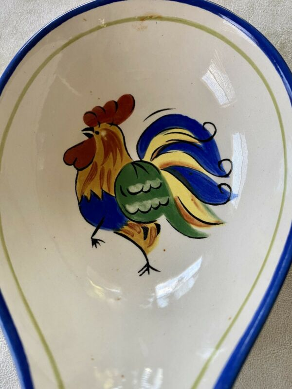 Luna Rooster Spoon Rest Deep Spoon Rest Blue Trim