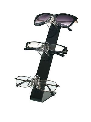 Qty 2 Acrylic 3 Tier Sunglasses Eyeglasses Display Stand Black Back Glasses Nose