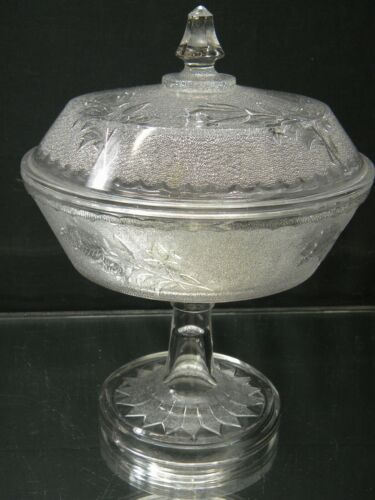 Vintage Glass Covered Pedestal Candy Dish