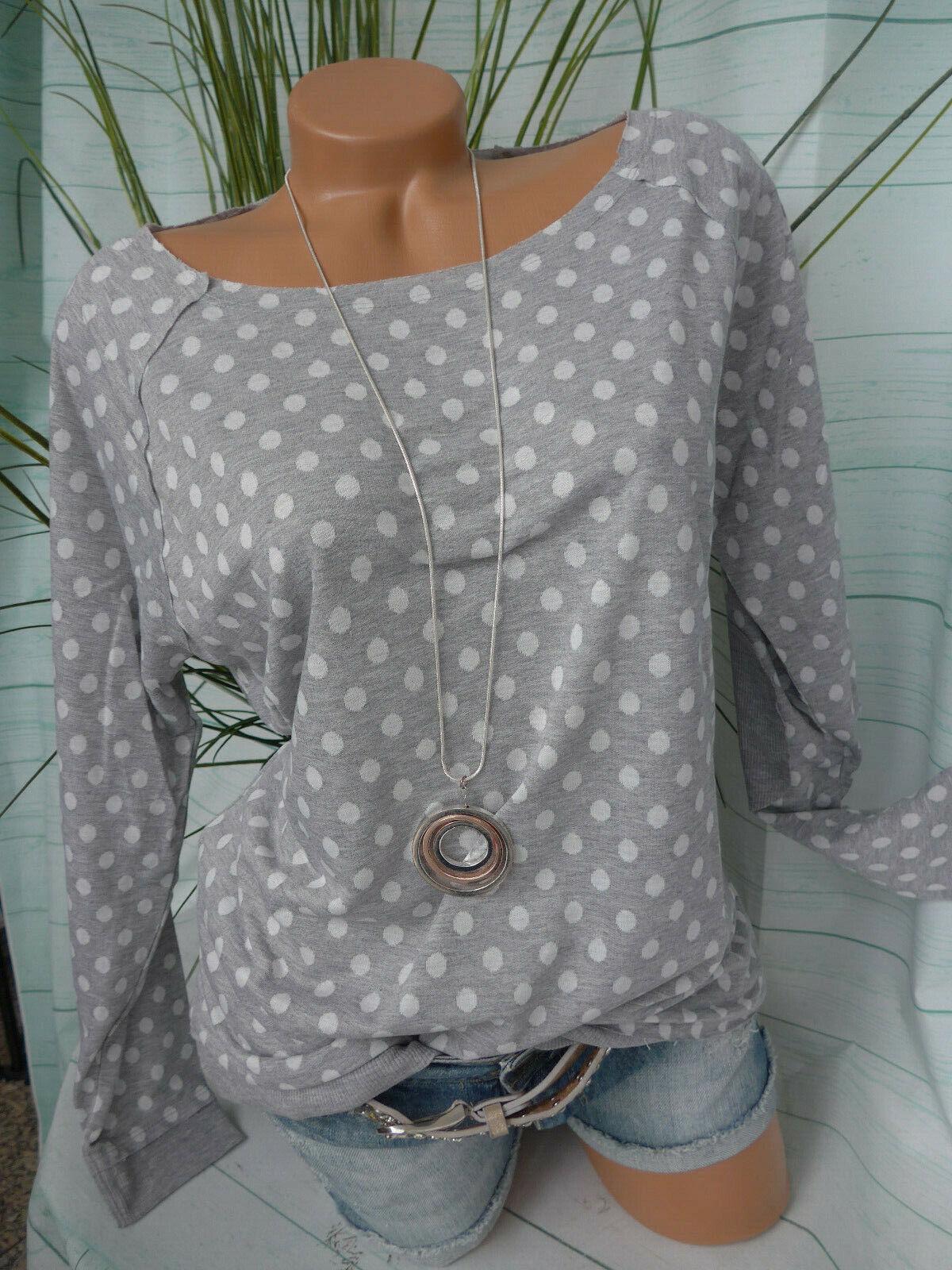 Heine Pullover Pulli Sweatshirt Shirt Gr. 40 bis 46 grau mit Punkten (785)