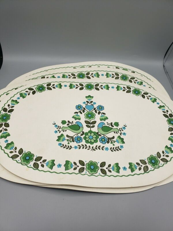 7 Vintage 1960s Floral Dove Bird Vinyl Oval Placemats Blue Green Folk Pattern