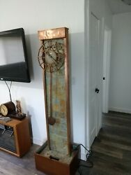 Howard Miller 615-052 Oasis Grandfather Floor Clock Copper And Slate waterfall