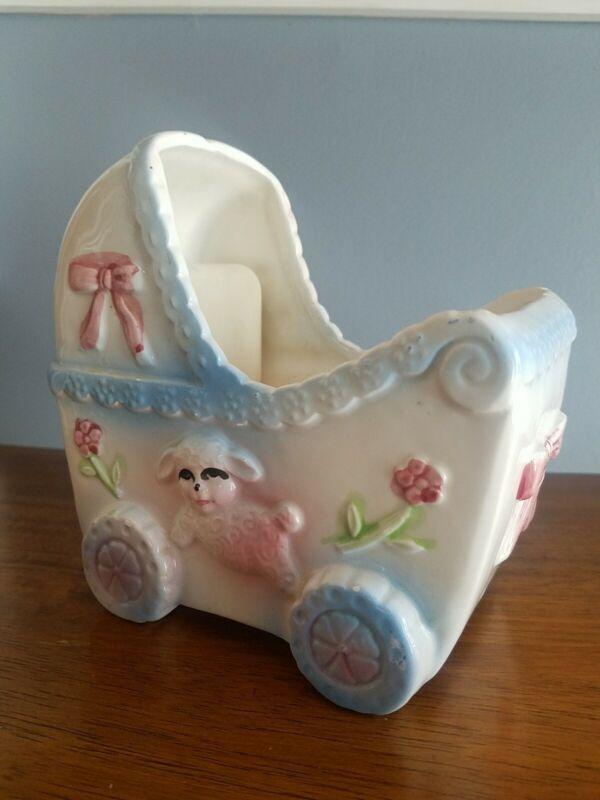 Baby room decor Ceramic planter Japan Mid Century plays music