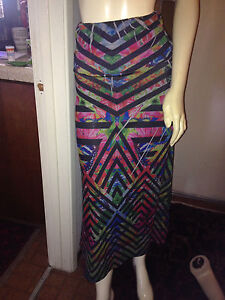 nwot-FULL-LENGTH-TIE-DYED-SKIRT-multi-color-S-M-by-BUBE-elastic-waistband