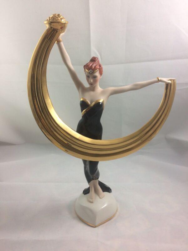 """House of Erte """"Promise of Gold"""" Vintage Fine Porcelain Figurine Franklin Mint"""