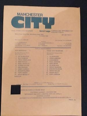 Manchester City v Stoke City 20/9/77 Reserve match programme