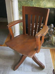 Oak Antique 1920s Swivel Wood Desk Arm Chair