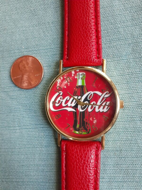 Red Coca Cola Wristwatch, Large Face, Bottle of Coke Watch, Unisex