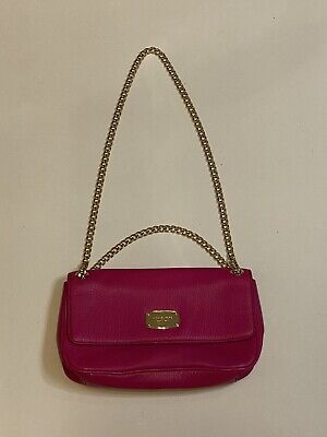 Michael Kors Women Small Crossbody Purse Handbag Chain Bag Pink Leather