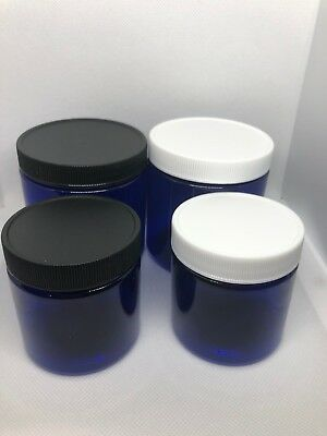 4oz or 8 oz Blue PET Straight Sided Plastic Jars With Plastic Cap black or white ()