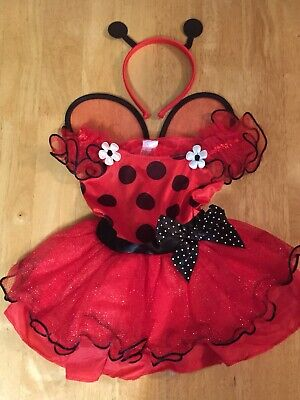 Ladybug Toddler Costume-Size:2T-Red And Black Polkadots