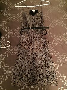 Women's leopard print dress with black belt, worn once